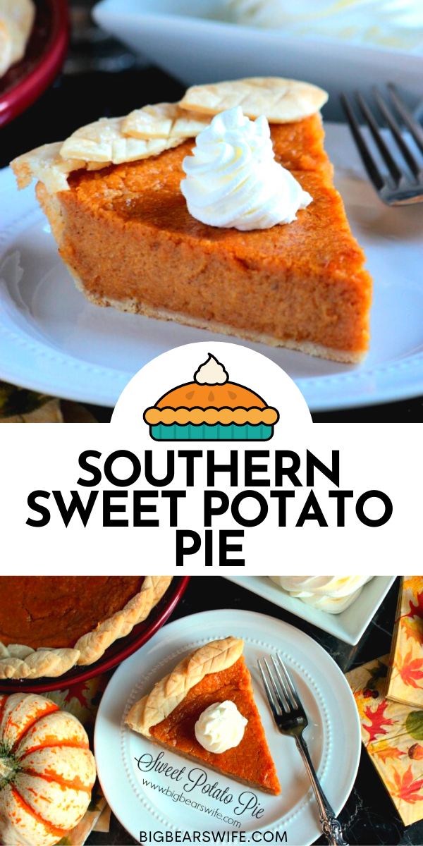 This easy Southern Sweet Potato Pie would be perfect on your Thanksgiving dessert table! Plus I'm making super easy pie crust leaves from store bought pie crust to decorate the edges of the pie!  via @bigbearswife