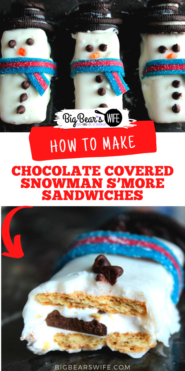 Graham Crackers, Marshmallow, Chocolate and Candies make up these Chocolate Covered Snowman S'more Sandwiches! Top them with Oreo hats and candy scarfs and serve them at your Holiday Party! via @bigbearswife