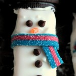 Chocolate Covered Snowman S'more Sandwiches
