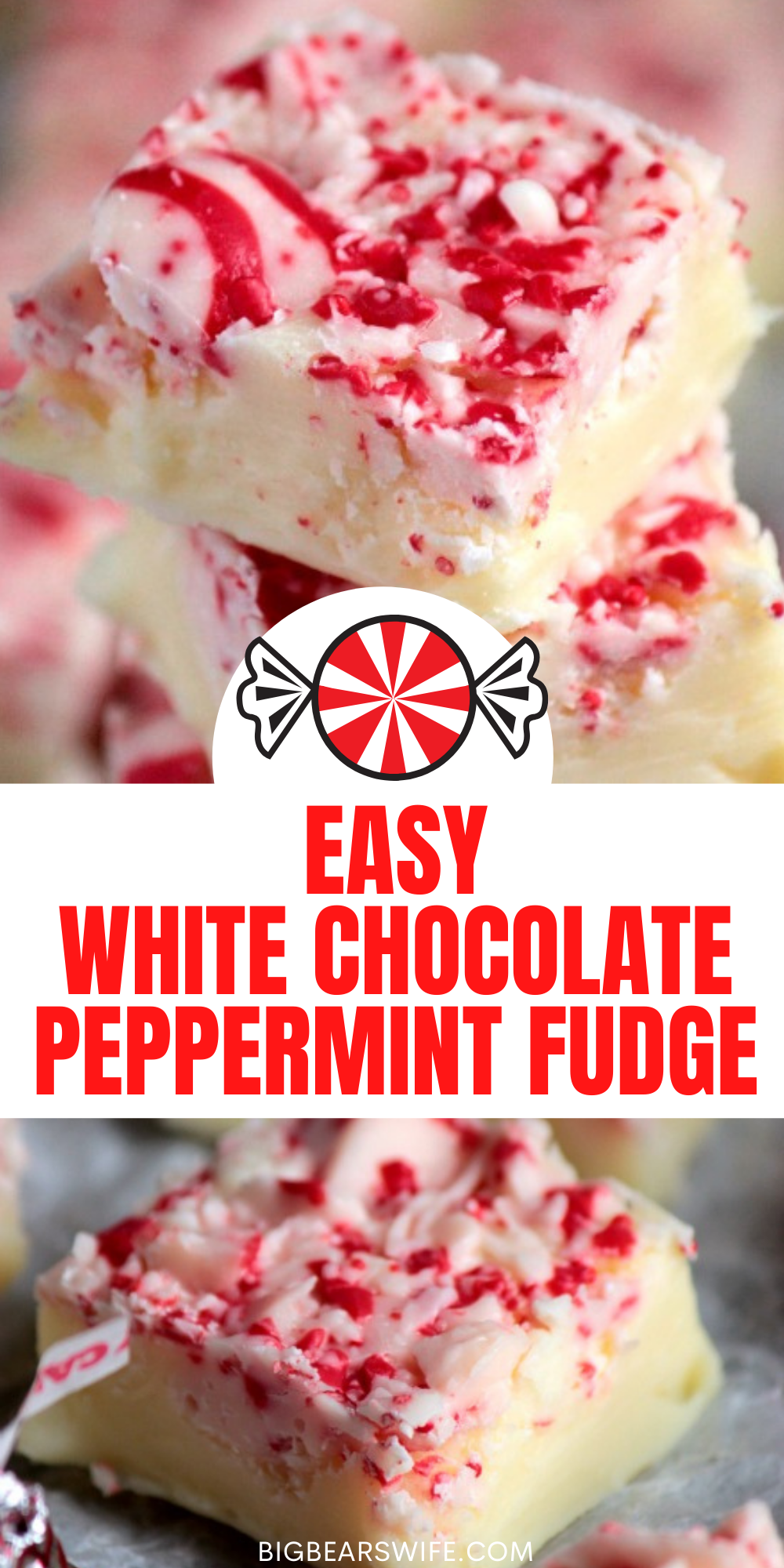 Three ingredient White Chocolate Peppermint fudge! You've go to make this for people on your Christmas list this year!  via @bigbearswife
