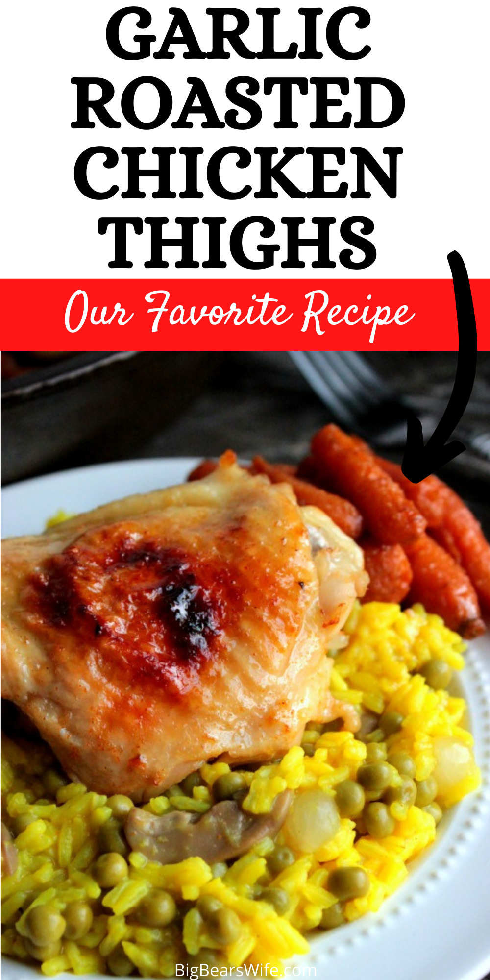 These Garlic Roasted Chicken Thighs are rubbed with minced garlic, cooked low and slow for the juiciest chicken thighs you've ever tasted! This is one of the best chicken thigh recipes that I make for our family.   via @bigbearswife