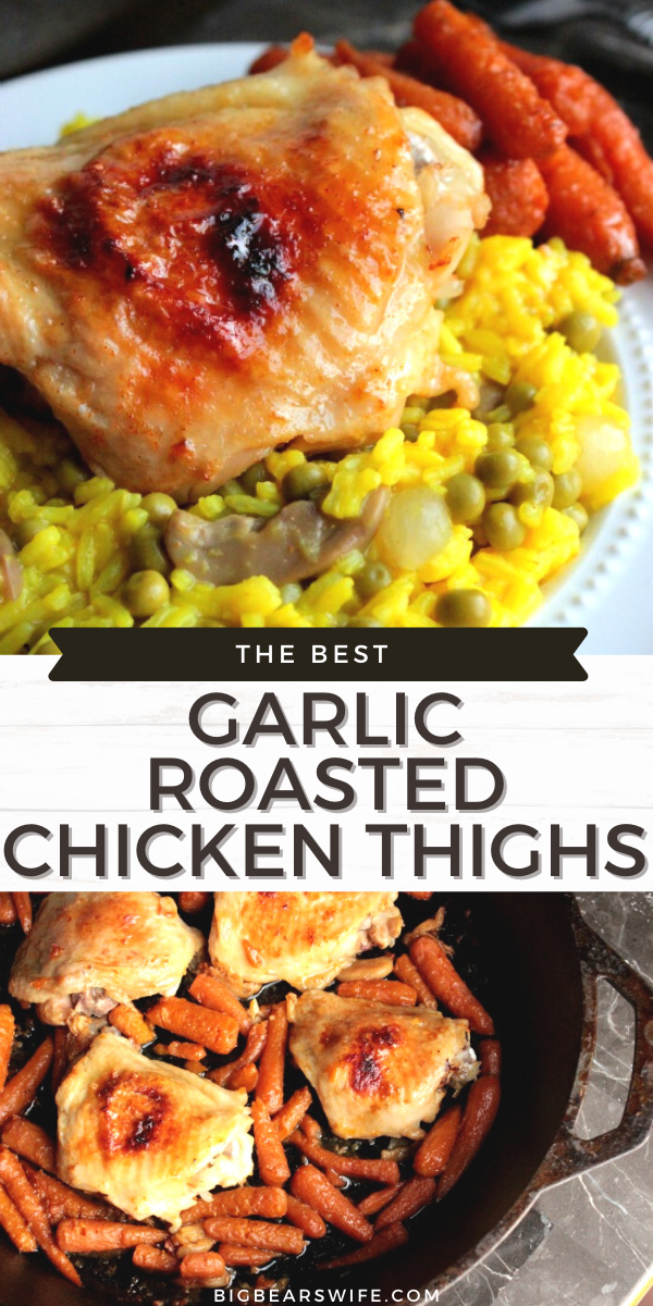 These Garlic Roasted Chicken Thighs are rubbed with minced garlic, cooked low and slow for the juiciest chicken thighs you've ever tasted! This is one of the best chicken thigh recipes that I make for our family.