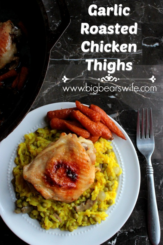 Garlic Roasted Chicken Thighs - Cooking chicken in the oven like this makes the most delicious chicken that's no where near dry and doesn't need 200 gallons of sauce on it to mask the dryness. Like you literally have no idea how much we love this.