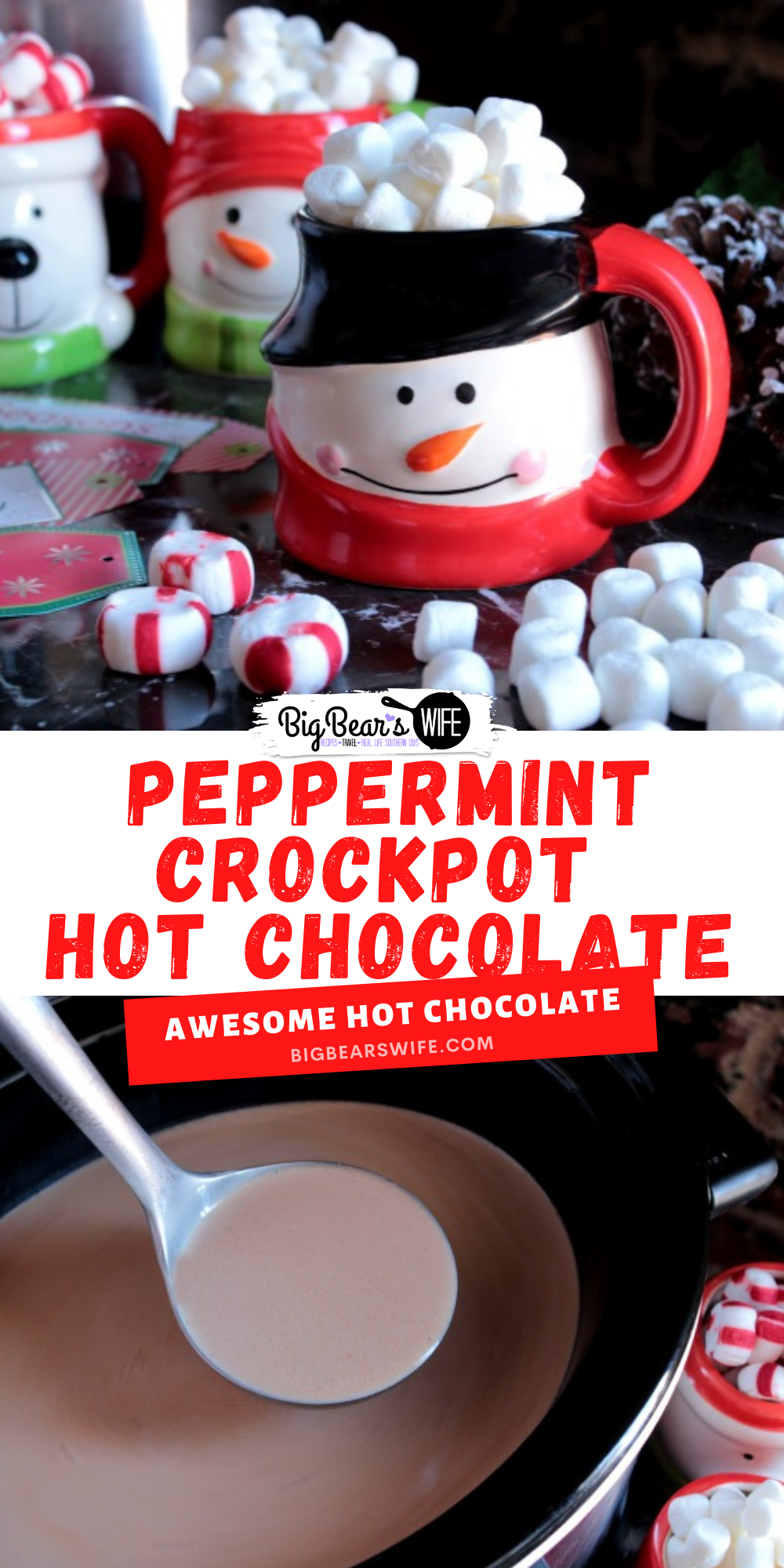 This Peppermint Crockpot Hot Chocolate is great for parties and evening at home with the family! Snuggle up on the couch with a movie and enjoy warm mugs of hot coco throughout the evening!    via @bigbearswife