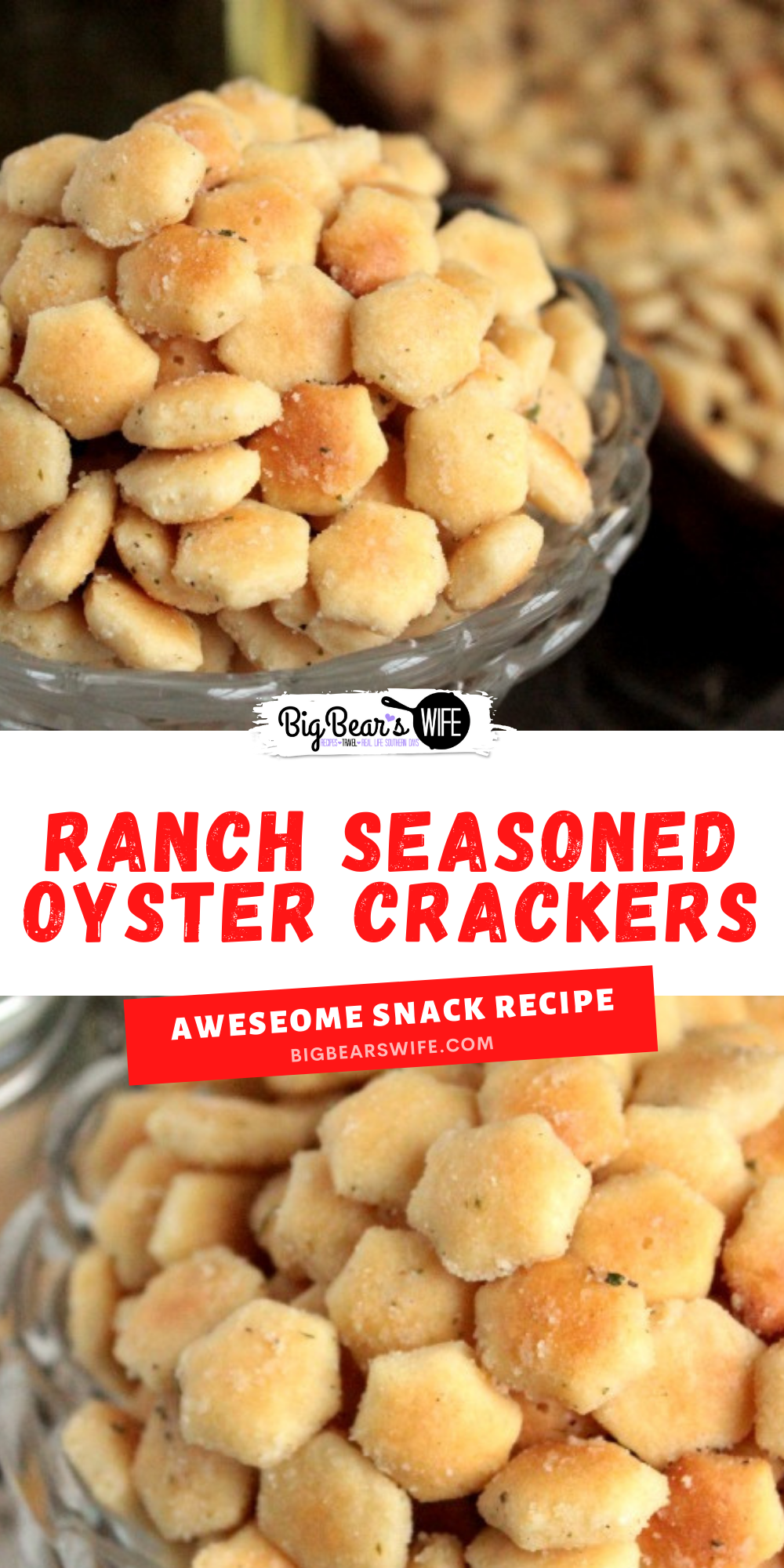 In need of a super simple dish to make for a party or just want to snack on a fun vintage recipe? These Ranch Seasoned Oyster Crackers are just what you need! Made with oyster crackers, ranch seasoning and a few more ingredients, these little crackers are delicious and super easy to make! via @bigbearswife