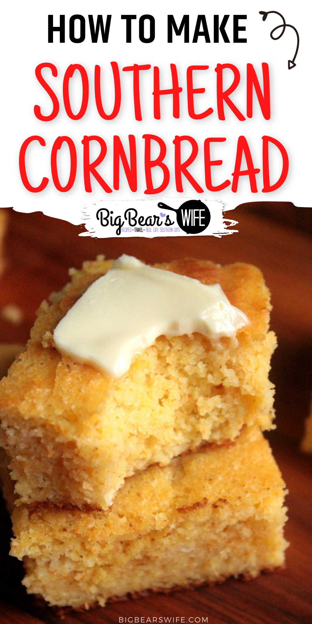 There is just something warm and comforting about a plate of warm southern cornbread and a softened stick of butter sitting on the table. This recipe is our favorite cornbread recipe! via @bigbearswife