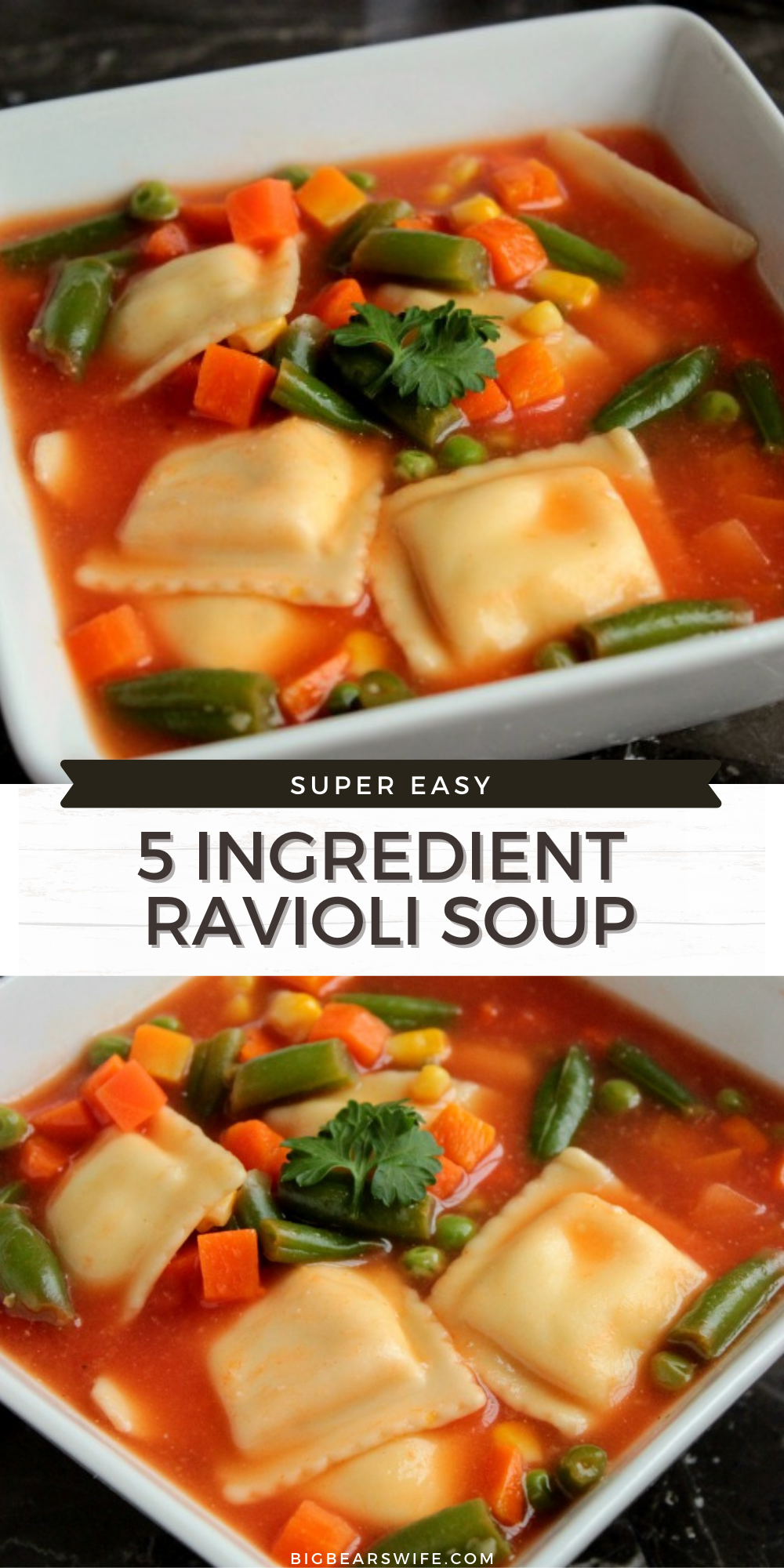 5 Ingredient Ravioli Soup is just that, ravioli soup that's simply made with only 5 ingredients. This super easy soup recipe is great for winter nights or fall evenings. It's a super easy dinner recipes that is super quick to make.