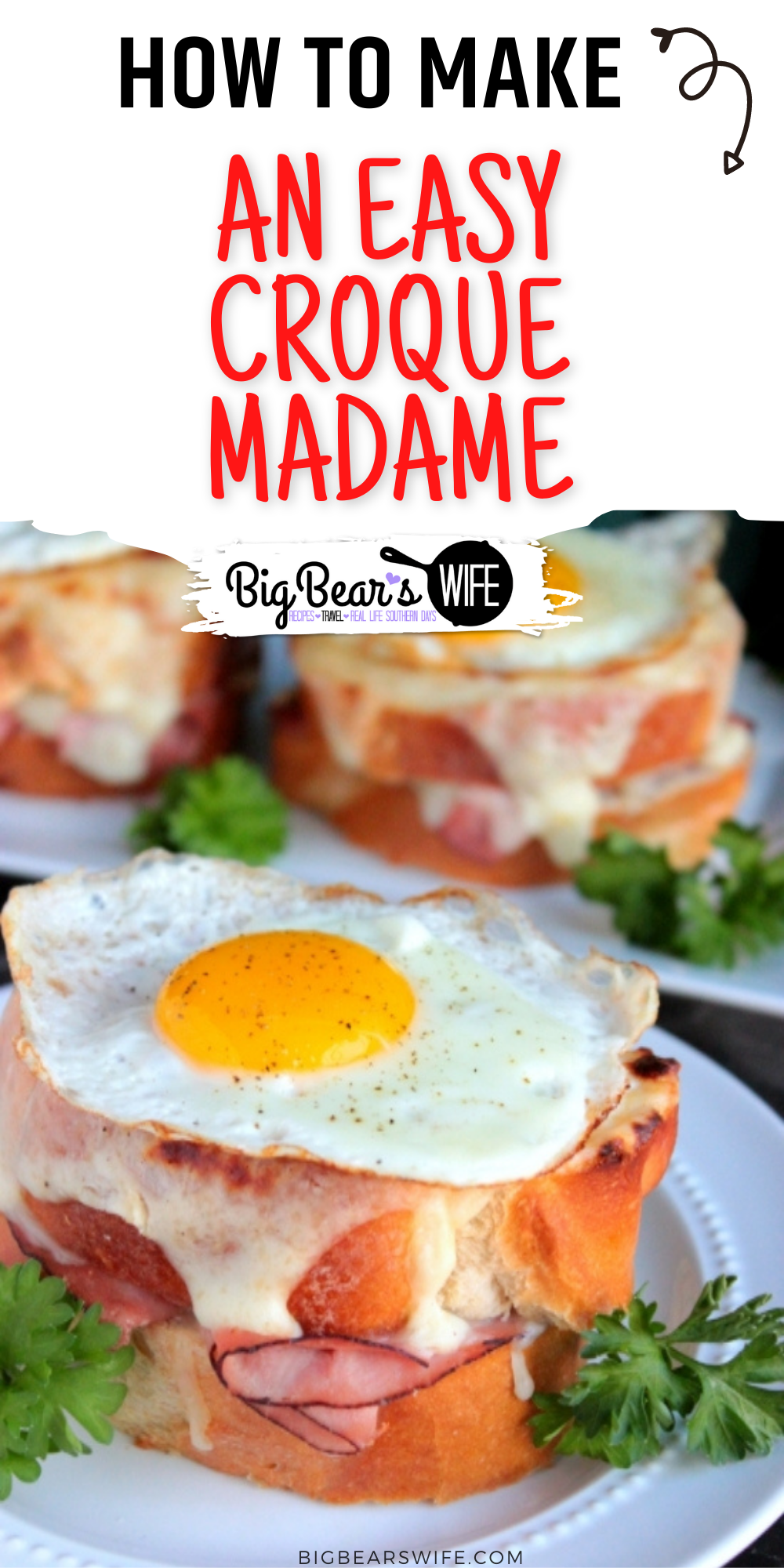 A perfectly made Croque Madame is a toasted ham and cheese sandwich with a cheesy Bechamel Sauce and a fried egg resting on top! The perfect breakfast sandwich. via @bigbearswife