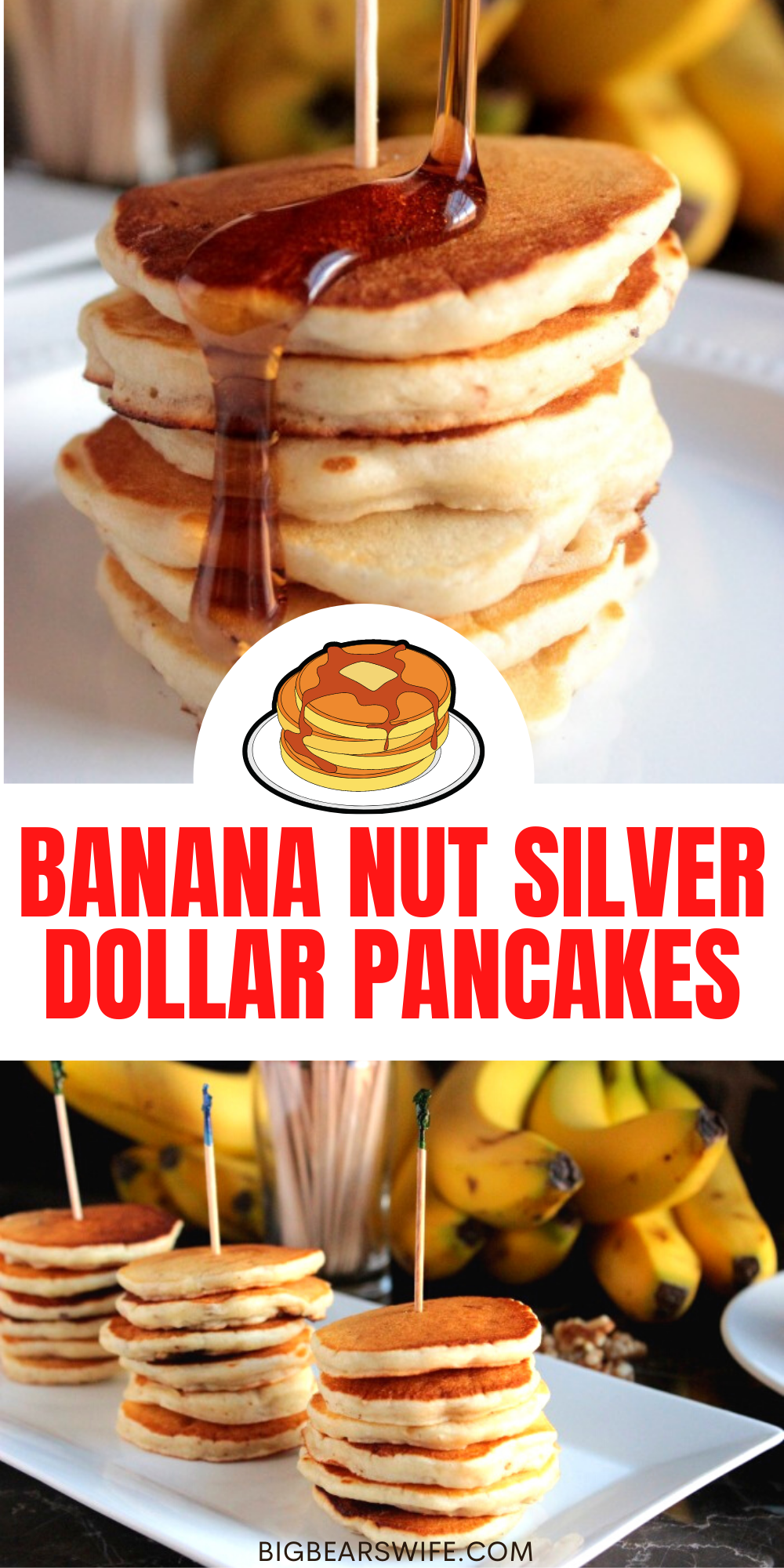 BANANA NUT SILVER DOLLAR PANCAKES - Delicious and wonderful banana pancakes that can be cooked regular size or mini size! They're perfect for breakfast!  via @bigbearswife