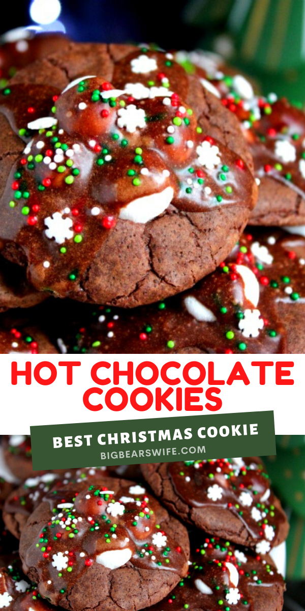Hot Chocolate Cookies -- Hot Chocolate Cookies are so popular in our family that I end up making dozens and dozens for family members during the holidays! They're rich chocolate cookies with melted marshmallows stacked on top with a chocolate glaze drizzle and sprinkles to finish them off.   via @bigbearswife