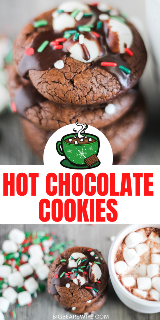Hot Chocolate Cookies are so popular in our family that I end up making dozens and dozens for family members during the holidays! They're rich chocolate cookies with melted marshmallows stacked on top with a chocolate glaze drizzle and sprinkles to finish them off.