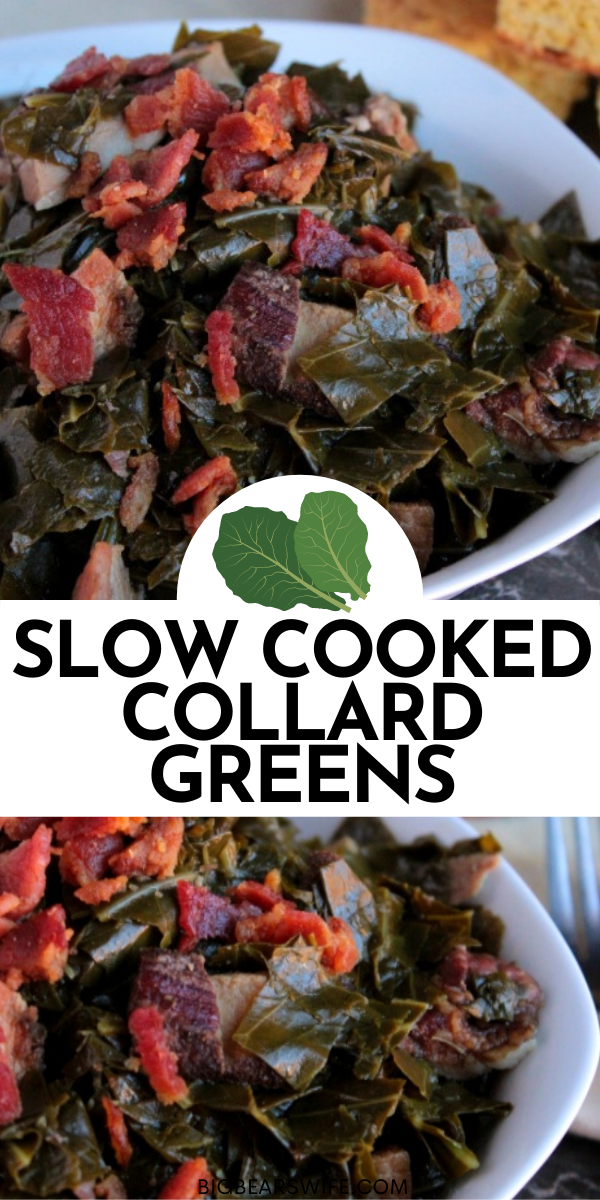 Make the best Collard Greens that you've ever had by slowly cooking them southern style! Southern Slow Cooked Collard Greens are full of amazing flavors! This recipe for Southern Slow Cooked Collard Greens is one of our favorites to make for New Years Eve! We also love to make Southern Slow Cooked Collard Greens to serve with brisket, BBQ Chicken and BBQ Ribs! via @bigbearswife