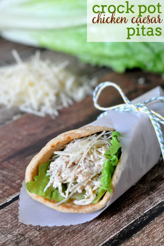 Crock Pot Chicken Caesar Pitas {The Love Nerds}