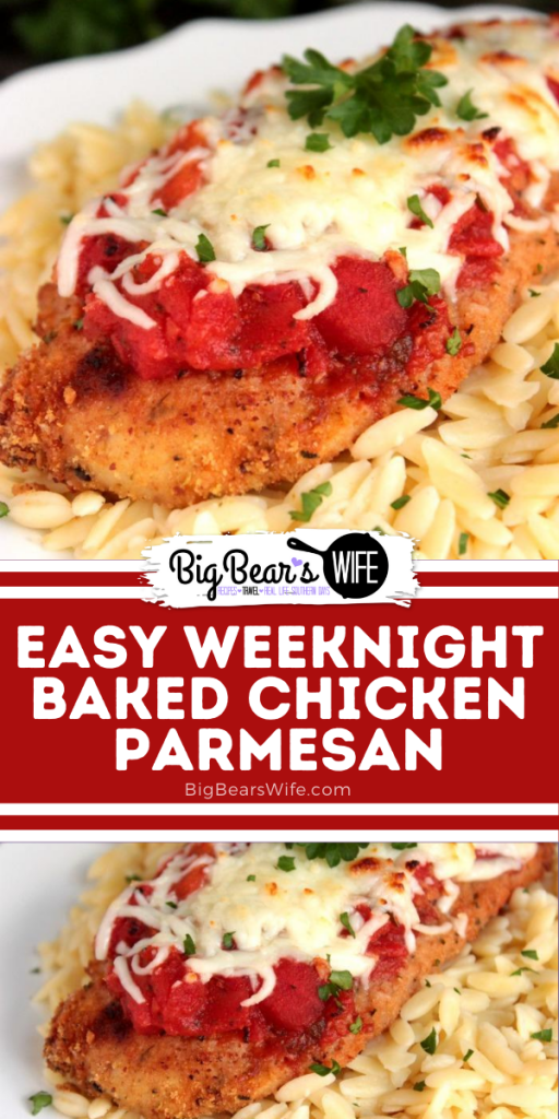 This Easy Weeknight Baked Chicken Parmesan is the kind of dinner recipe that you're going to want to have in your back pocket for weeknights that require minimal energy and dinner on the table at a reasonable hour.