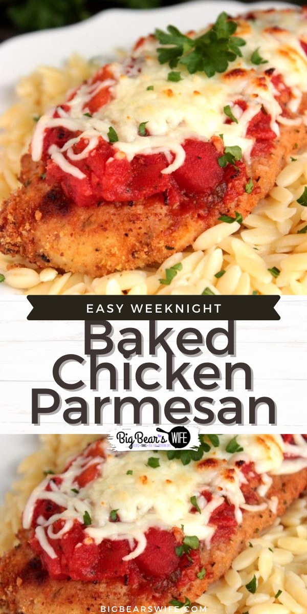 This Easy Weeknight Baked Chicken Parmesan is the kind of dinner recipe that you're going to want to have in your back pocket for weeknights that require minimal energy and dinner on the table at a reasonable hour. via @bigbearswife