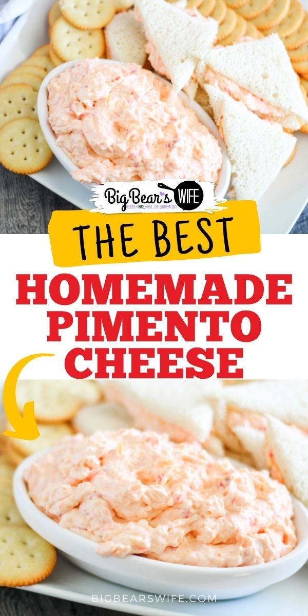 Homemade Southern Pimento Cheese is super easy to make at home! This recipe is a combination of a recipe from my grandmother's recipe box and my own twist. It's our favorite pimento cheese recipe!  via @bigbearswife