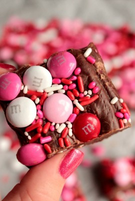 Three Ingredient Valentine's Day M&M Fudge