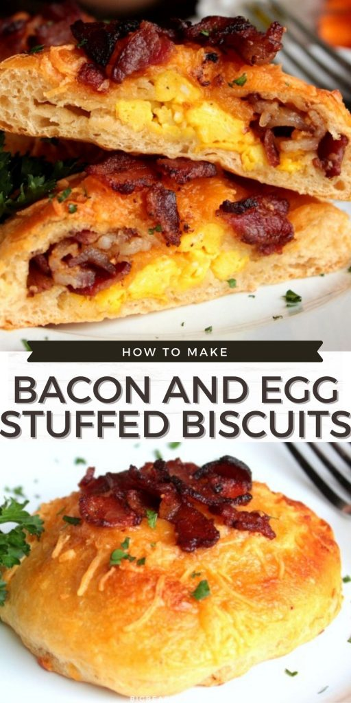Bacon and Egg Stuffed Biscuits are easy breakfast biscuits stuffed with scrambled eggs, cheddar cheese and crispy bacon.
