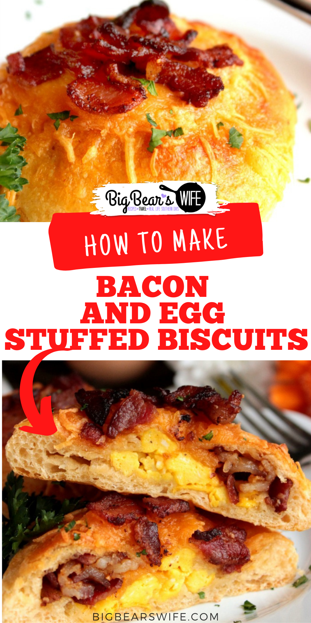 Bacon and Egg Stuffed Biscuits are easy breakfast biscuits stuffed with scrambled eggs, cheddar cheese and crispy bacon. via @bigbearswife