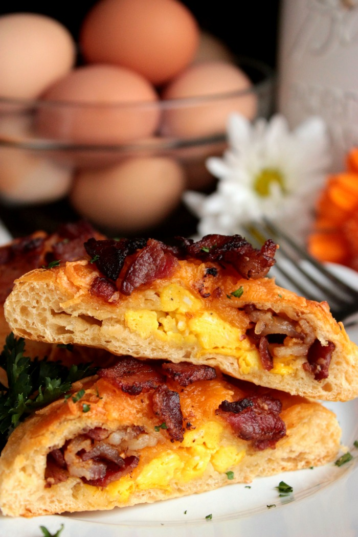 Bacon and Egg Stuffed Biscuit Sliced Open showing egg and cheese inside