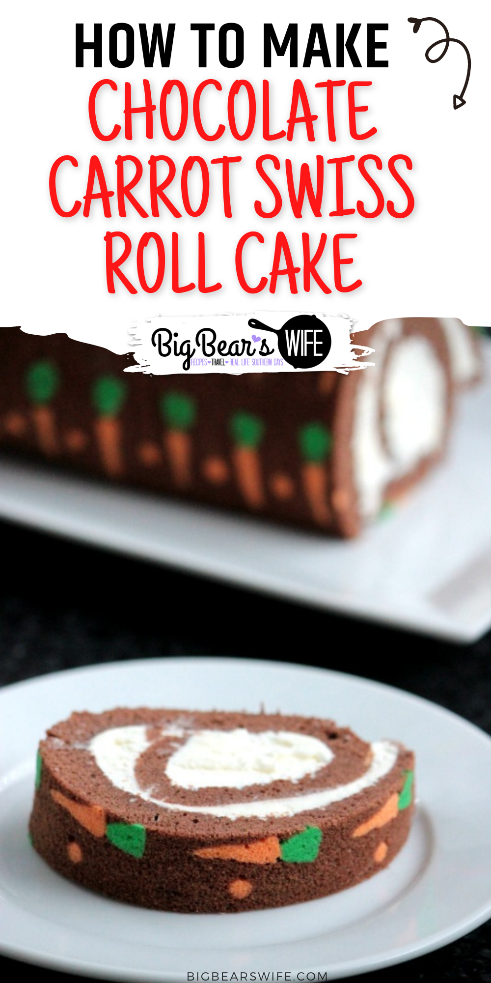 "This Chocolate Carrot Swiss Roll Cake is a chocolate sponge cake with super cute mini cake carrots baked right in! Then this ""carrot"" cake is filled with a cream cheese frosting and rolled up into a giant swiss roll cake!