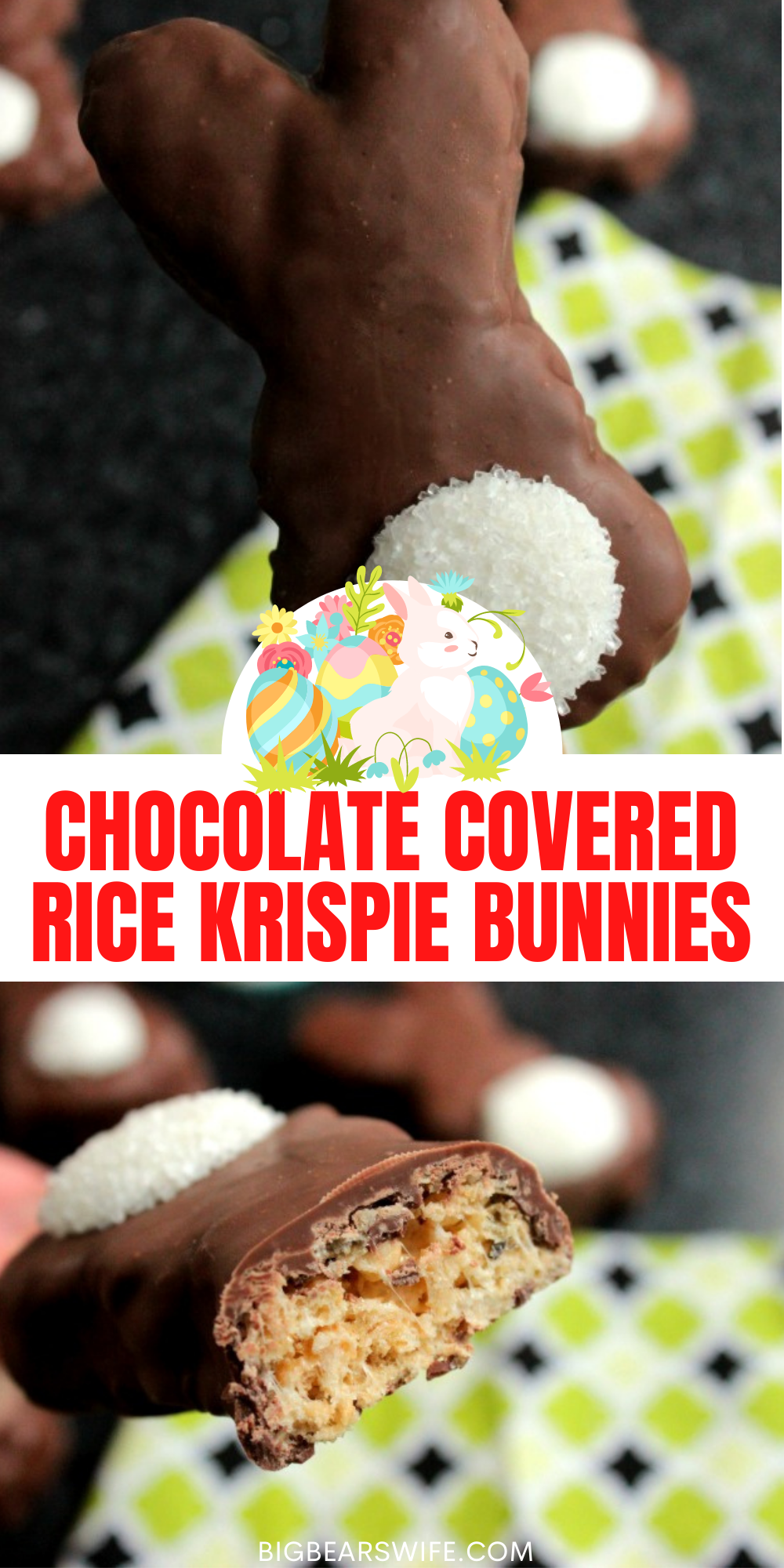 These Chocolate Covered Rice Krispie Bunnies are so easy to make and they're super cute for Easter Brunch or Lunch! Wrap them up in a little baggie with a cute bow and give them out to all of your friends!   via @bigbearswife