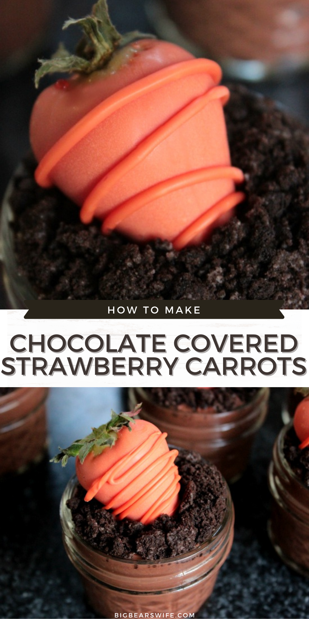 These cute spring dessert pudding cups are topped with easy to make Chocolate Covered Strawberry Carrots! They're the perfect dessert for celebrating Easter or Springtime!   via @bigbearswife