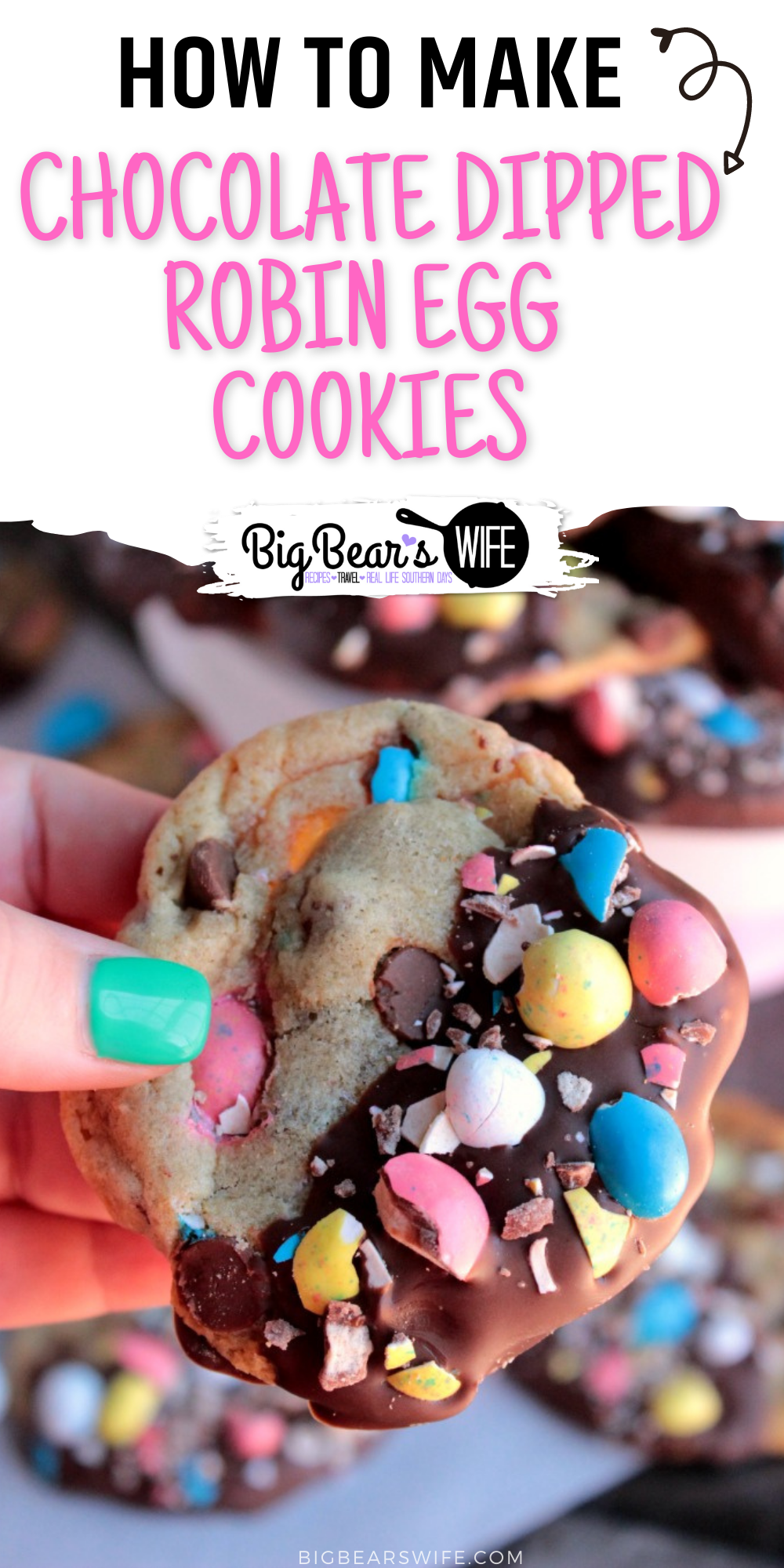 Soft and chewy cookies that are filled with chocolate chips and crushed whopper mini robin eggs, dipped in chocolate and sprinkled with more chopped mini robin eggs.   via @bigbearswife