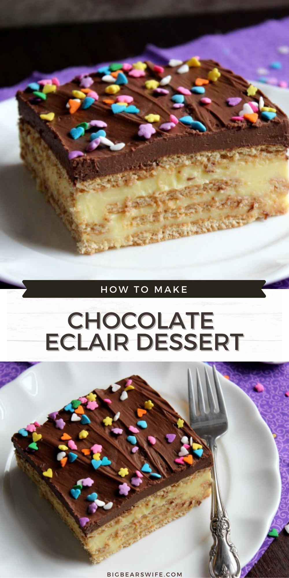 This Chocolate Eclair Dessert is an amazing no bake dessert is a southern favorite! Layers if pudding, graham crackers and chocolate frosting come together for a dessert that you're sure to love!