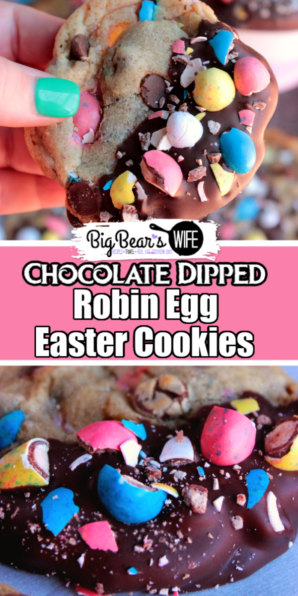 Soft and chewy cookies that are filled with chocolate chips and crushed whopper mini robin eggs, dipped in chocolate and sprinkled with more chopped mini robin eggs.