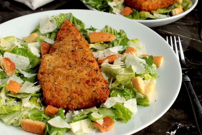 Cod Caesar Salad with homemade Caesar dressing