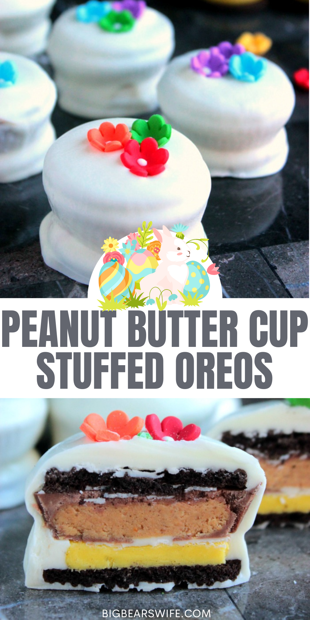 Springtime Easter Reese Stuffed Oreos have the sweetness from the chocolate, the crunch from the cookie and a creaminess from the peanut butter! Topped with little sugar flowers, they're just perfect for Easter and Spring! via @bigbearswife