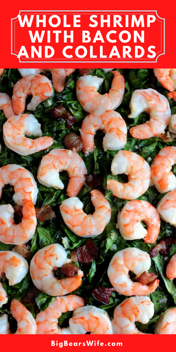 This Whole Shrimp with Bacon and Collards recipe is a one sheet pan meal that's quick to toss together and it cooks in 30 minutes!