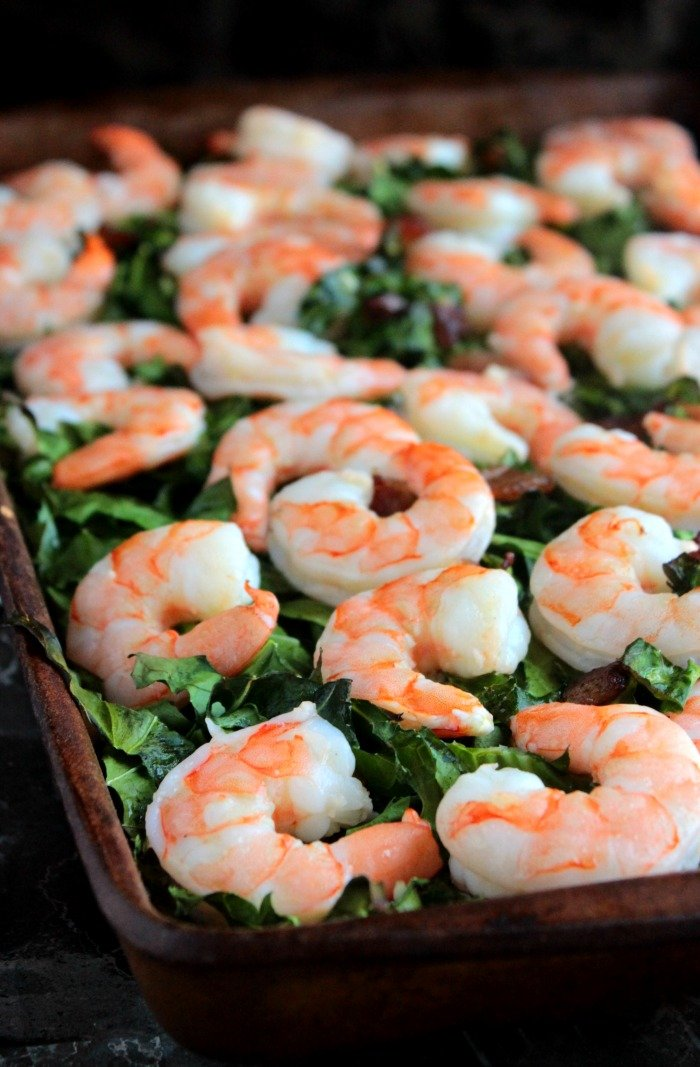 Whole Shrimp with Bacon and Collards (1)