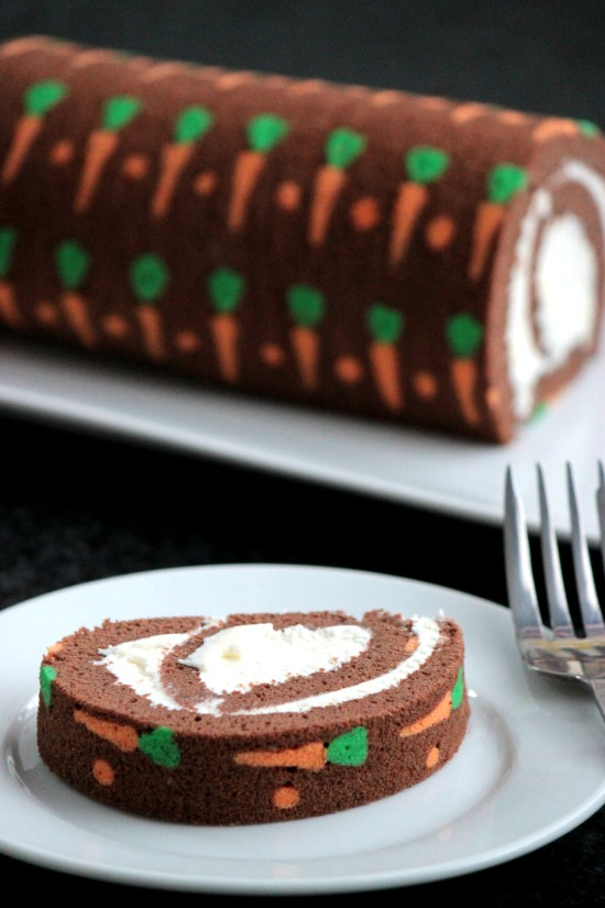 Chocolate Carrot Swiss Roll Cake
