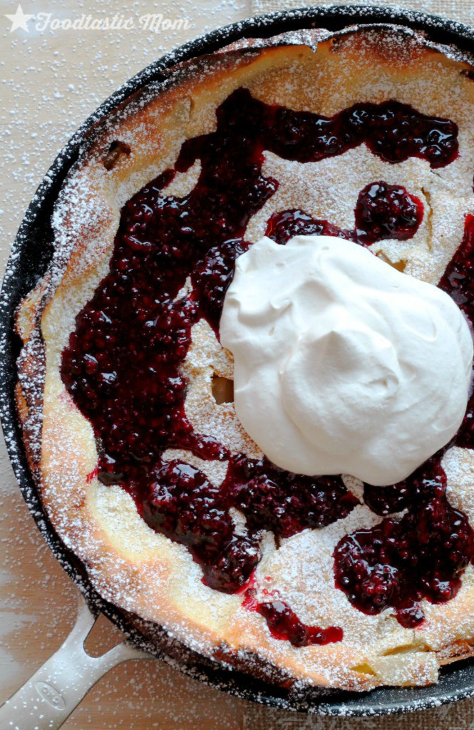 Asian Pear Dutch Baby with Blackberry Syrup - Foodtastic Mom
