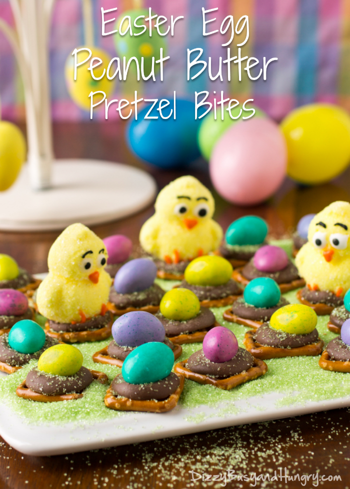 Easter Egg Peanut Butter Pretzel Bites | DizzyBusyandHungry.com - Cute and easy Easter treat that will delight kids and adults alike!