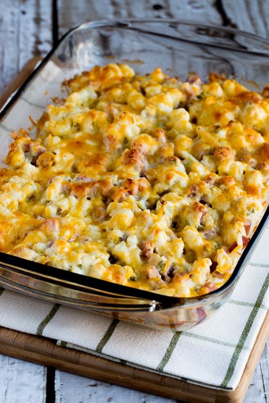 Low-Carb Ham and Cauliflower Casserole au Gratin found on KalynsKitchen.com