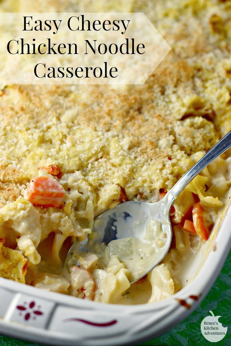 Easy Cheesy Chicken Noodle Casserole | Renee's Kitchen Adventures: Comfort food at its BEST! You gotta give this a try!