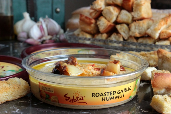 Garlic Crouton Sticks and Roasted Garlic Hummus Toppings