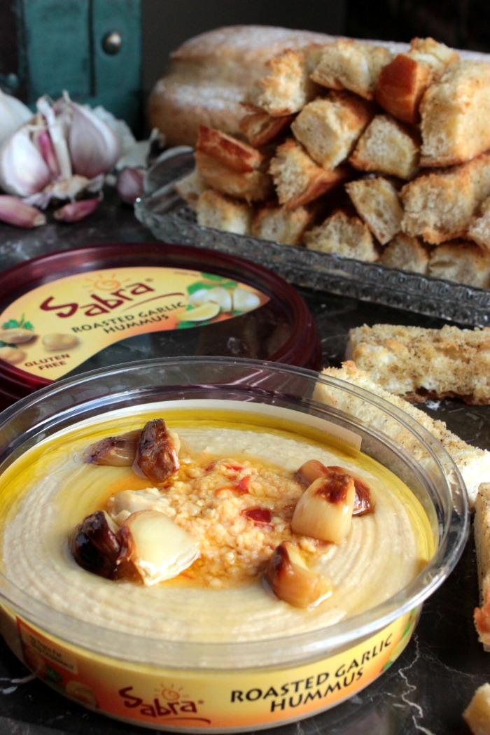 Garlic Crouton Sticks and Roasted Garlic Hummus Toppings