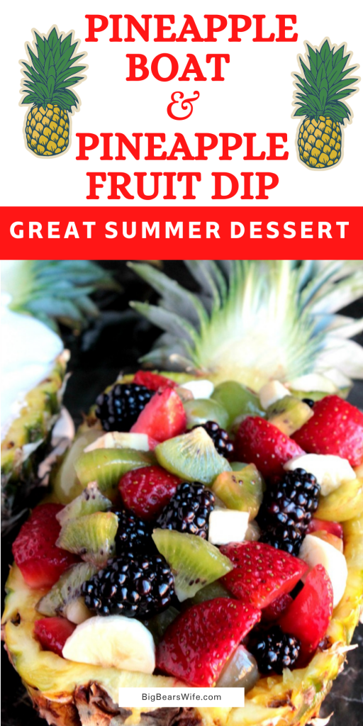 Mixed fruit served in a fresh pineapple with an easy to whip up pineapple marshmallow dip! A Mixed Fruit Pineapple Boat is great for parties!