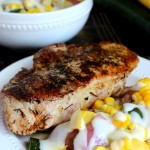 Pan-Seared Pork Chop and Garlic Parmesan Summer Vegetables