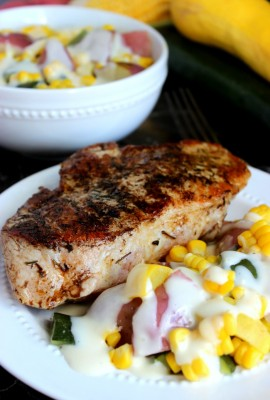 Pan-Seared Pork Chop and Garlic Parmesan Summer Vegetables