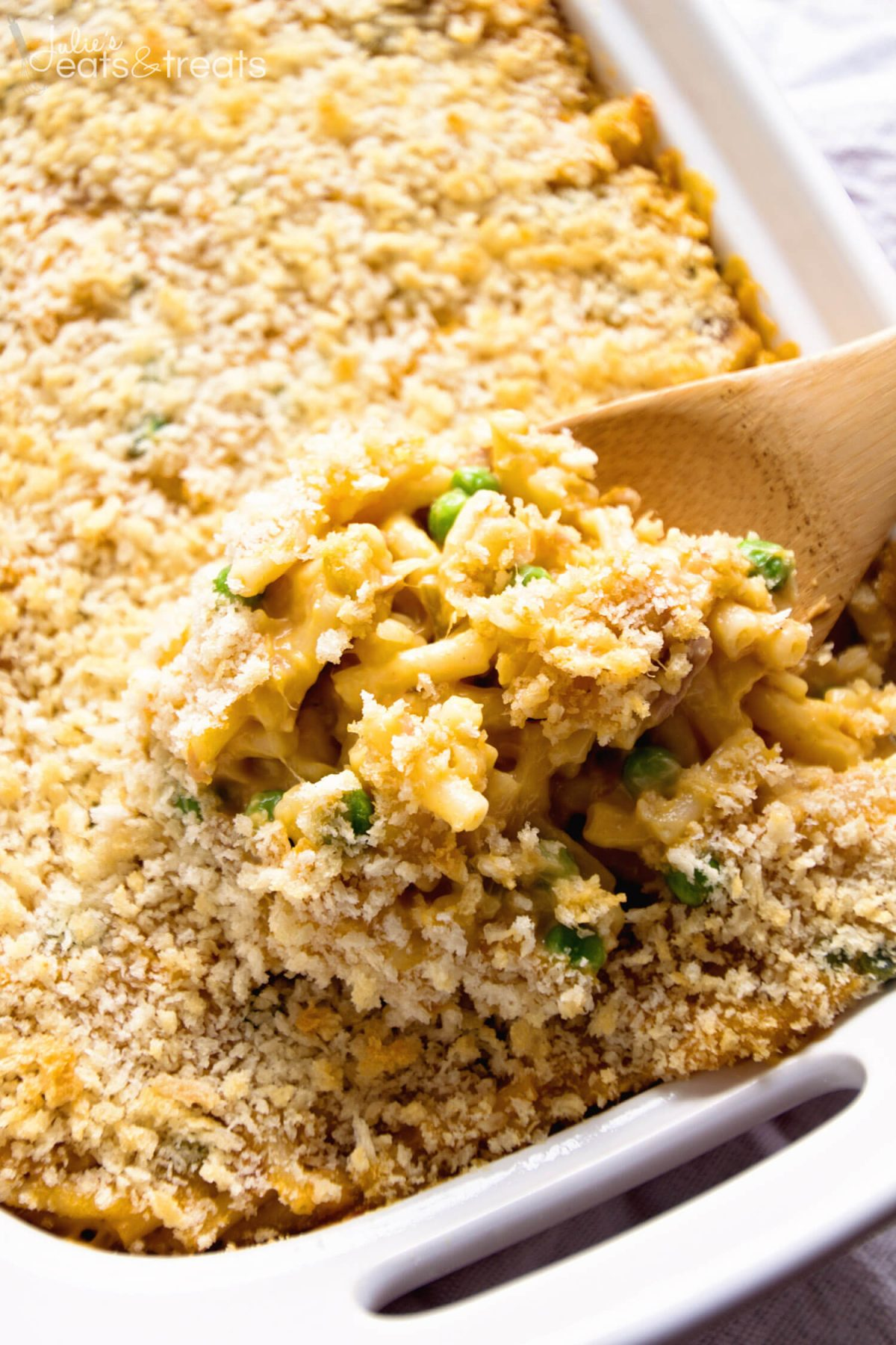 Tuna Macaroni Casserole Recipe ~ Traditional, Comforting Casserole From Grandma's Recipe Box! Kids Will Love This Dressed Up Mac & Cheese Casserole Recipe!