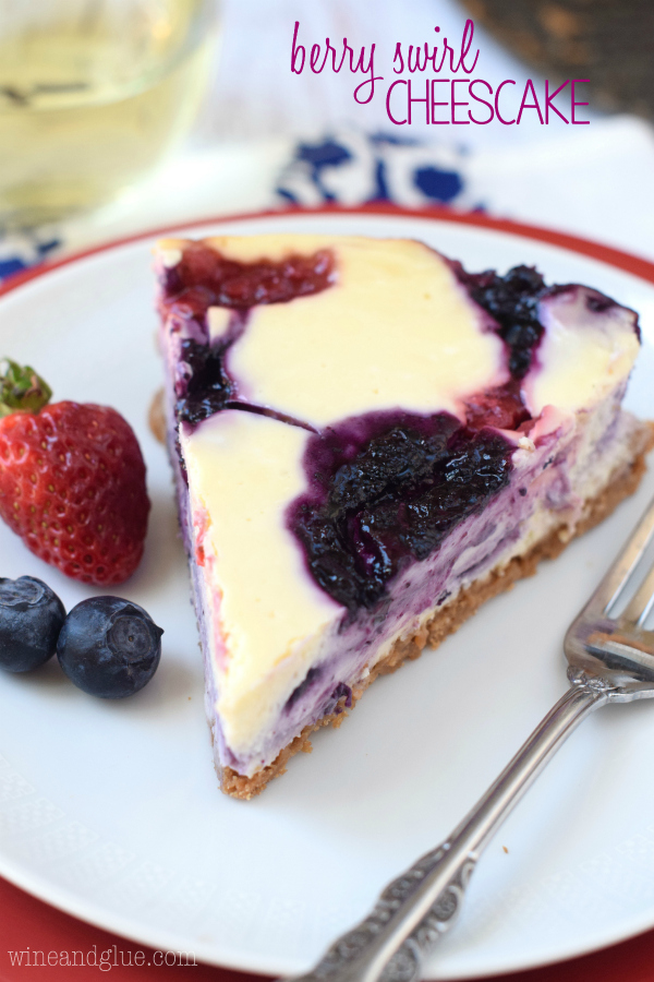 Berry Swirl Cheesecake {Wine & Glue}