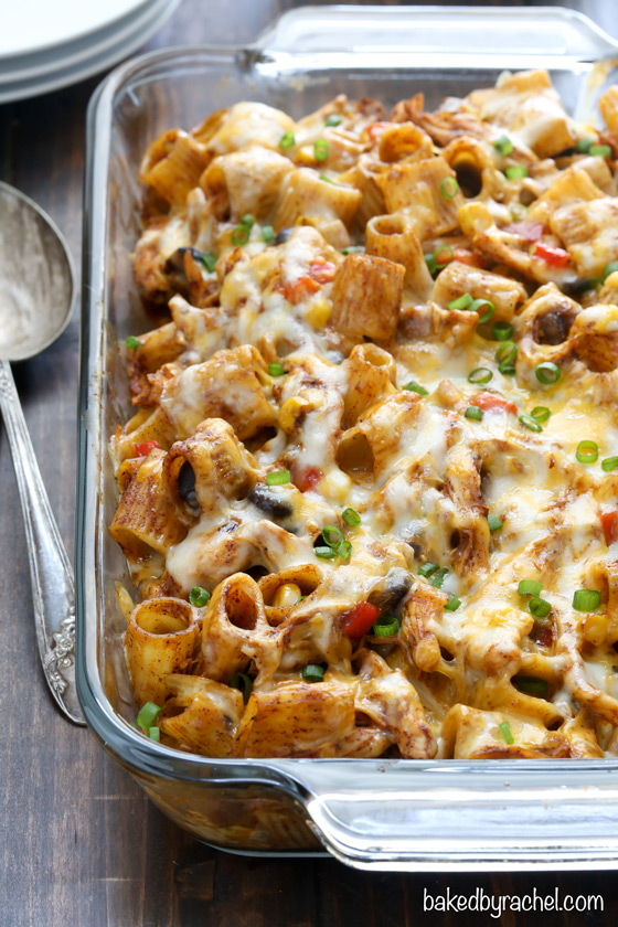 Chicken enchilada pasta bake recipe from @bakedbyrachel Your favorite enchiladas reinvented into an easy pasta dinner!