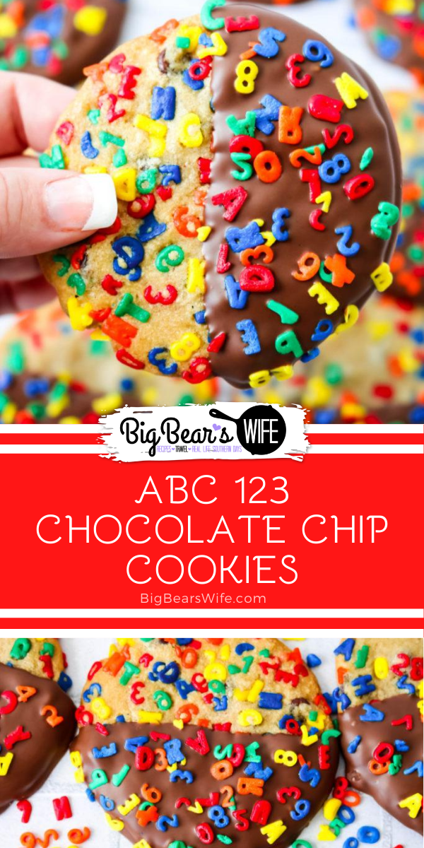 Chocolate Dipped ABC 123 Chocolate Chip Cookie - These Chocolate Dipped ABC 123 Chocolate Chip Cookies are a super colorful Back to School treat that's perfect for both kids and adults! If you're worried about the chocolate melting in their lunch boxes, the un-dipped version is just as delicious! via @bigbearswife