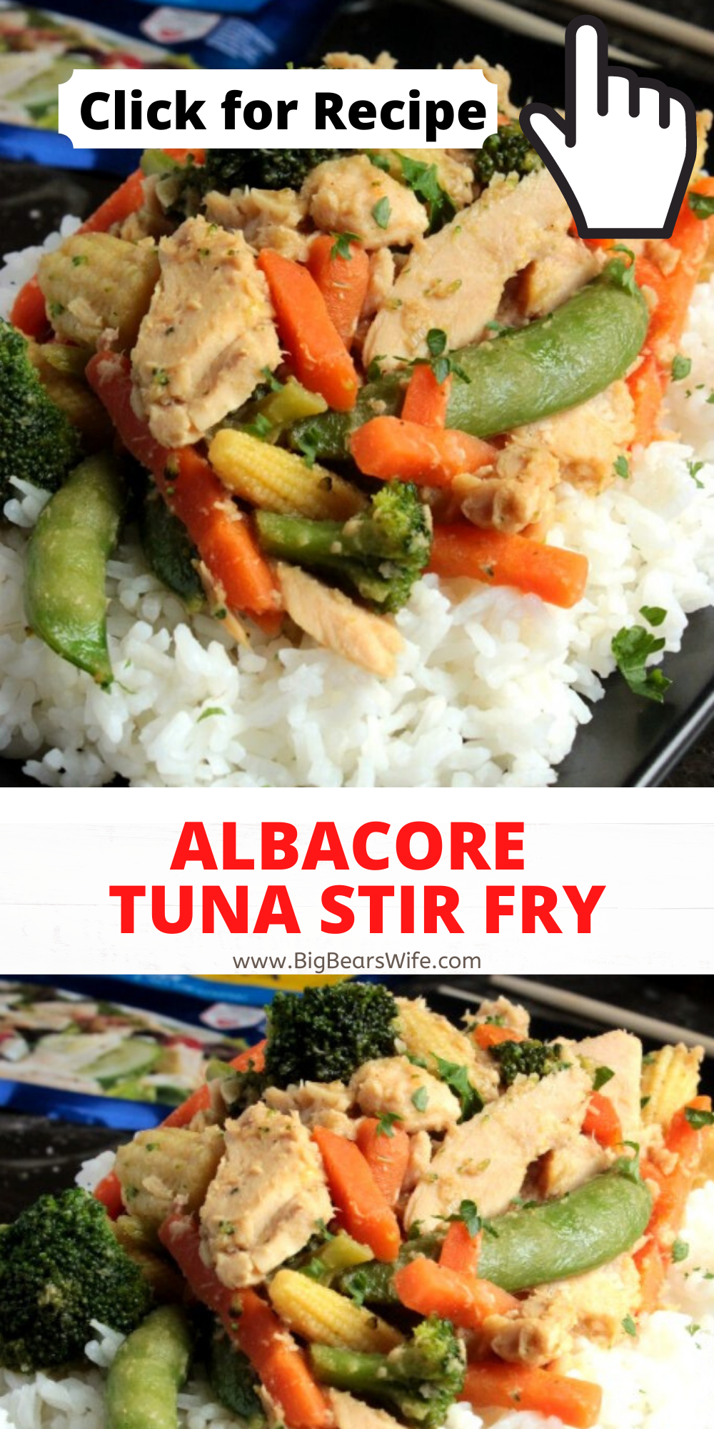 Albacore Tuna Stir Fry is a super easy dinner for 4 that's ready in under 15 minutes! via @bigbearswife