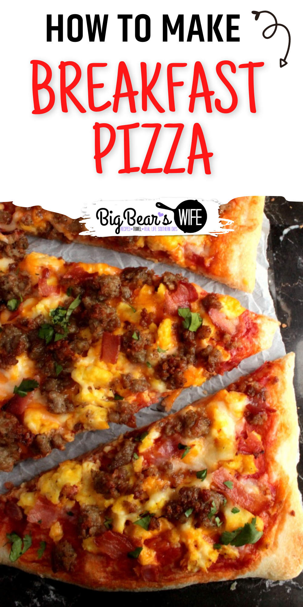 Everything you love about breakfast on a Breakfast Pizza! This Breakfast Pizza had scrambled Eggs, Sausage, Bacon & cheese! Great with a dash of hot sauce! via @bigbearswife